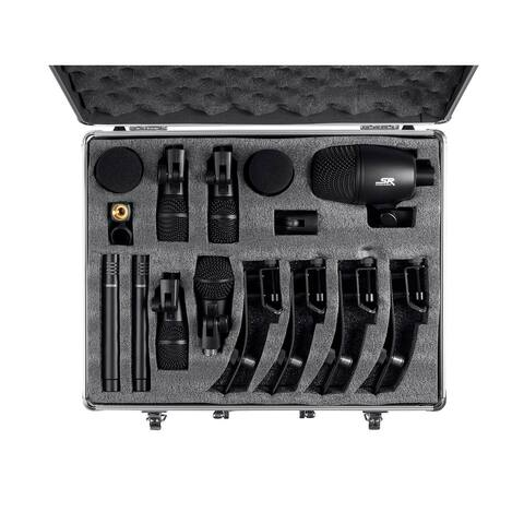 Monoprice 7-piece Drum and Instrument Mic Kit With Mounts and Case, balanced XLR connections - Stage Right Series