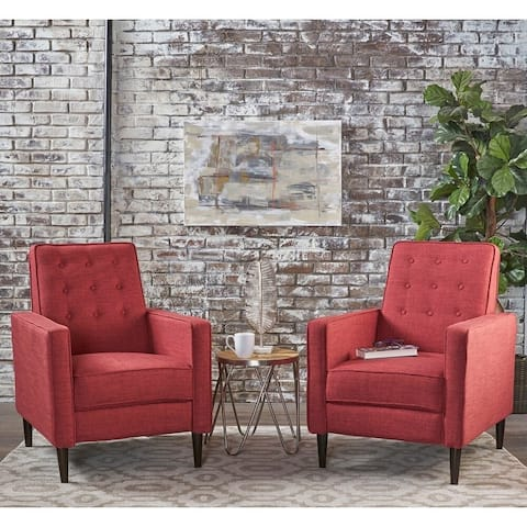 Mervynn Mid-Century Modern Button Tufted Fabric Recliner (Set of 2) by Christopher Knight Home