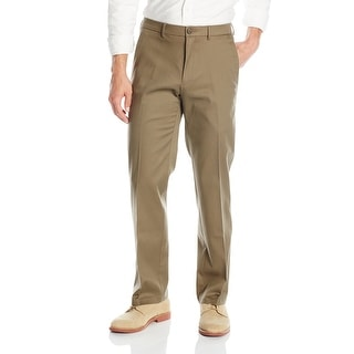 Dockers Mens Pants Brown Size 42X30 Straight Fit Flat Front Khaki