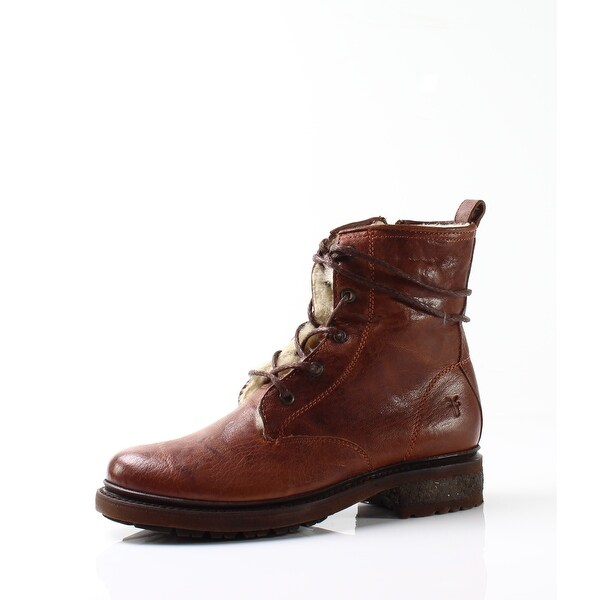 Frye NEW Brown Women Shoes Size 7M Valerie Shearling Lace-Up Boot
