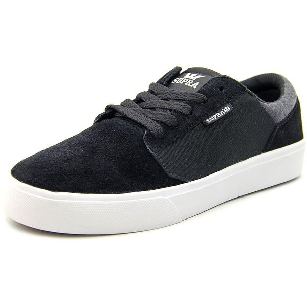 Supra Stacks Vulc II Men Round Toe Suede Black Sneakers