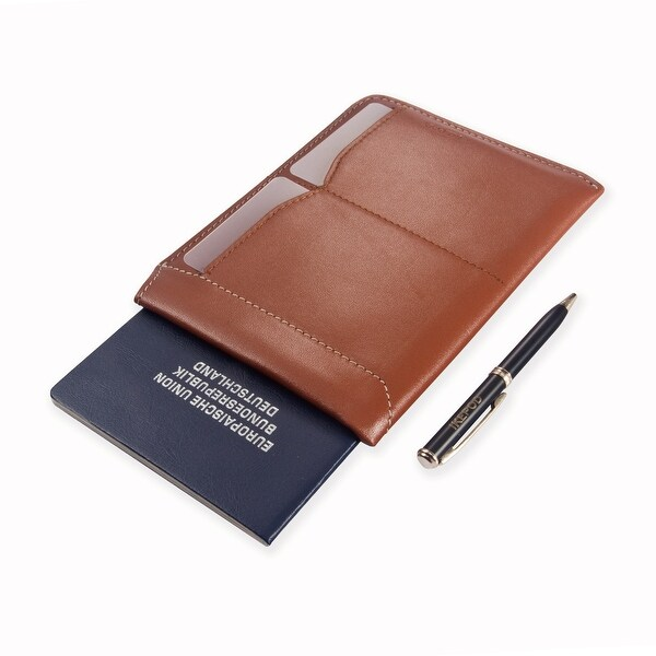 Ikepod Passport Sleeve Wallet with Micro Pen (Tan of 2 Color)[Italy Made // Top Leather] - Tan