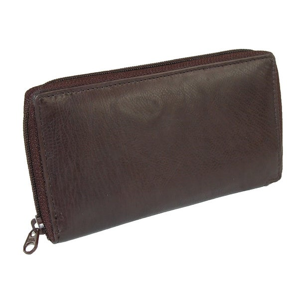 Paul & Taylor Leather Deluxe Zip Around Checkbook Cover Wallet - One size