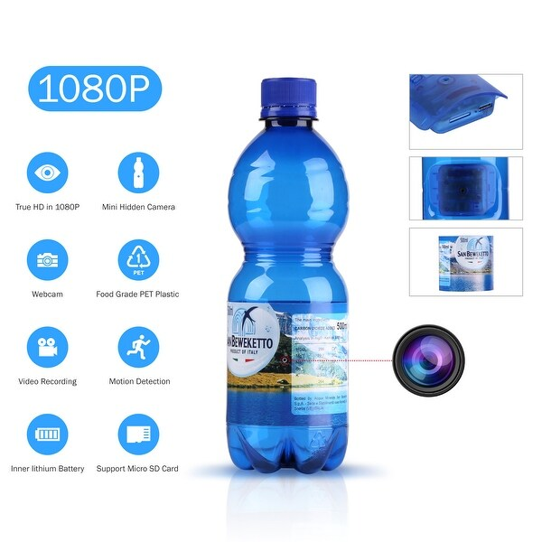 1080P HD Hidden Spy Camera Water Bottle Video Recording Drinking Water Bottle Motion-Activated Security Camera