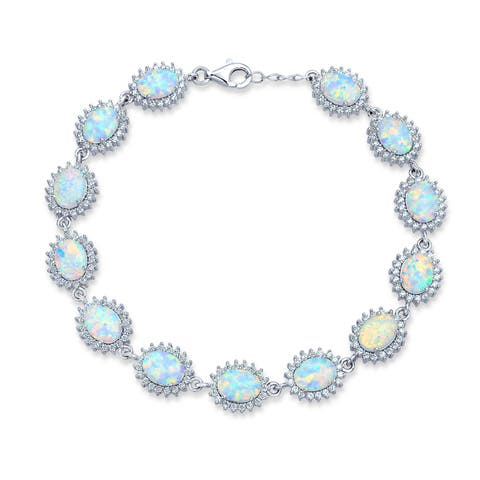 12 CTW Tennis Bracelet For Women White Oval Created Opal Halo Crown CZ Tennis 925 Sterling Silver October Birthstone