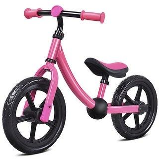 Costway 12'' Balance Bike Classic Kids No-Pedal Learn To Ride Pre Bike w/ Adjustable Seat - Pink