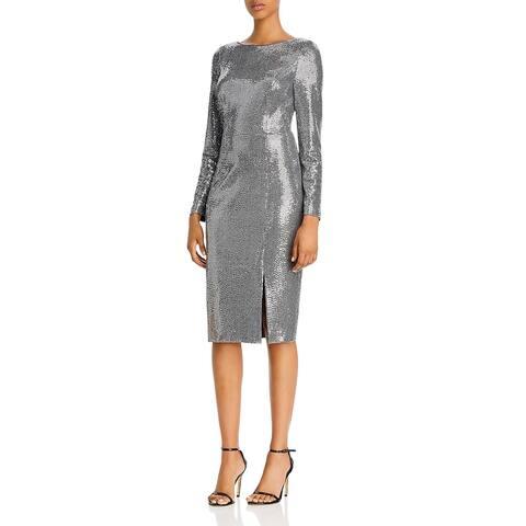 Eliza J Womens Cocktail Dress Metallic Long Sleeves - Gunmetal