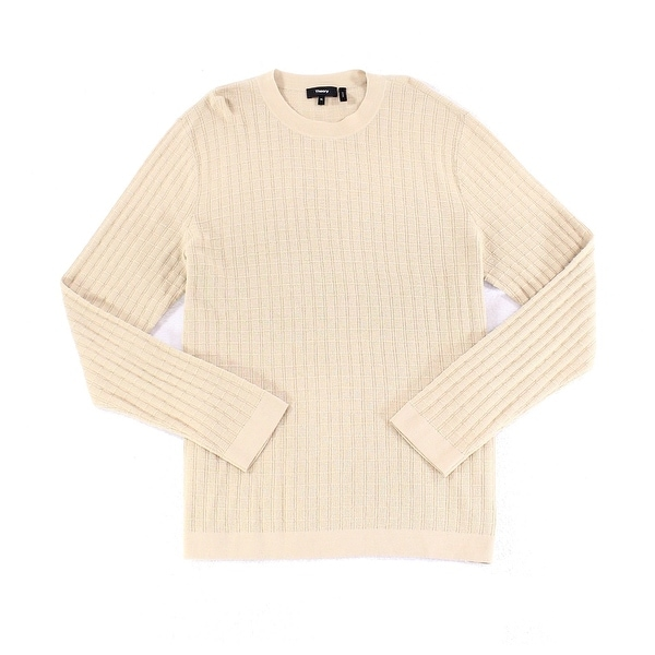 7e18176d428 Shop Theory Beige Mens Size XL Check Texture Crewneck Wool Knit Sweater -  On Sale - Free Shipping On Orders Over  45 - Overstock - 26903311
