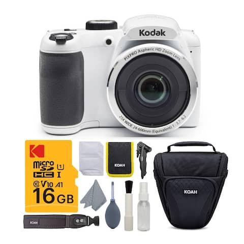 Kodak PIXPRO AZ252 Astro Zoom 16MP Digital Camera (White) w/ 16GB SD Card Bundle