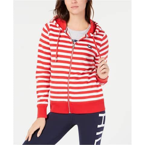 Tommy Hilfiger Womens Zip-Front Hoodie Sweatshirt, Red, Small