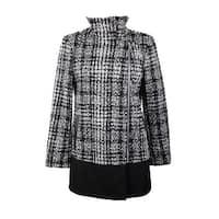 Bar Iii Black White Asymmetrical Plaid Walker Coat  S