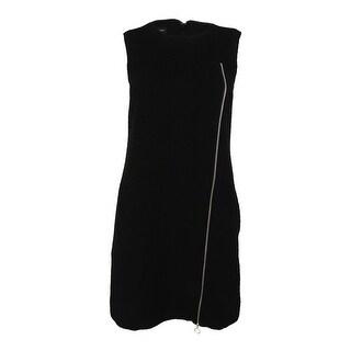 INC International Concepts Women's Textured Zip Detail Dress - Deep Black