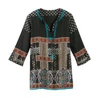 Women's Tunic Top - Mila Ethnic Black Embroidered Shirt