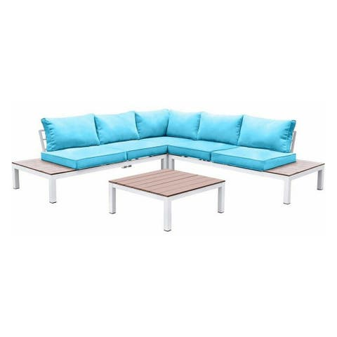 L Shaped Dual Tone Patio Sectional with Box Cushioned Seat, Blue and White
