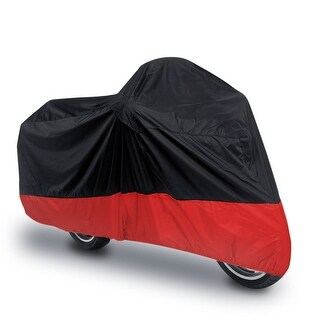 Unique Bargains Black Red Outdoor Motorcycle Waterproof UV Dust Protector Anti Rain Cover M