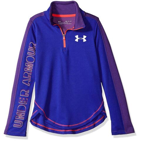 Under Armour Girls Tech 1/2 Zip, Constellation Purple/White, YMD