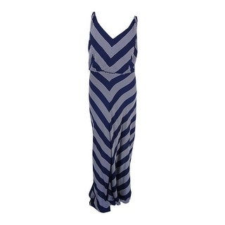 City Chic Women's Plus Size Chevron-Print Maxi Dress (XXL, French Navy) - french navy - 24W