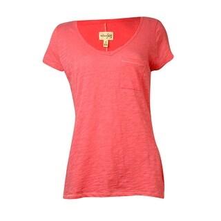 Maison Jules Women's Basic Pocket V-Neck Top