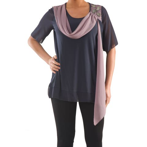 Chiffon Blouse with Flare - Sizes 14, 16, 18 & 20 - Plus Size Clothing - La Mouette Collections
