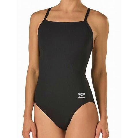 Speedo Women's Swimwear Black Size 14 One-Piece Solid Endurance Athletic