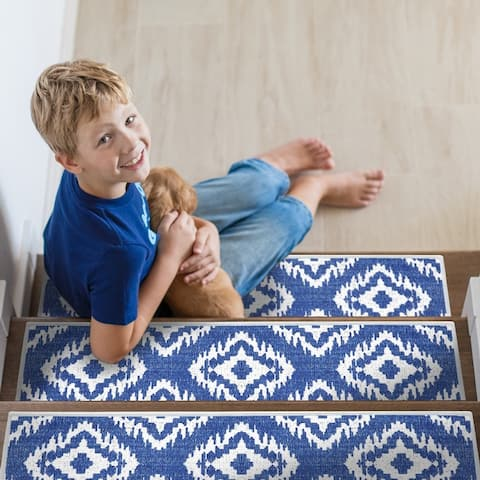 """SussexHome Tetra One Design 9"""" X 28"""" Stair Treads - 70% Cotton Anti-Slip Carpet Strips for Stairs-with Double Adhesive Tape"""