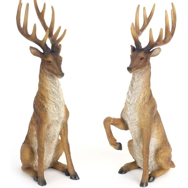 Pack of 2 Decorative Poly-resin Brown and White Sitting Deer