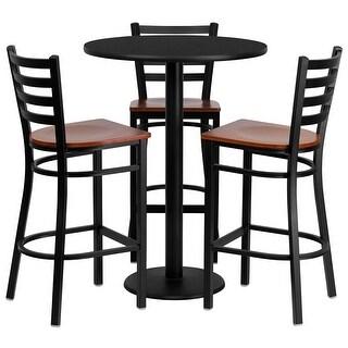 "Dyersburg 4pcs Table Set Round 30"" Black Laminate, Cherry Metal/Wood Barstool"