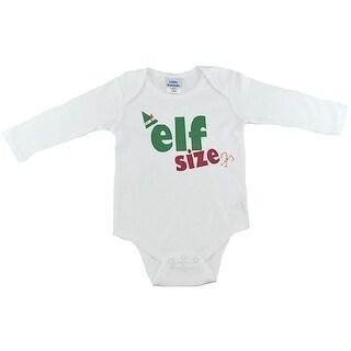"Reflectionz Baby Boys White ""Elf Size"" Print Long Sleeved Bodysuit"