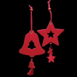 """Club Pack of 18 Bright Red Color Bell and Star """"Felt Ornaments"""""""