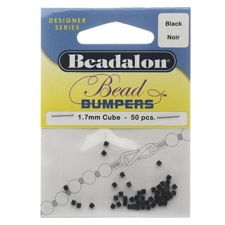 Beadalon Bead Bumpers, Cube Silicone Spacers 1.7mm, 50 Pieces, Black