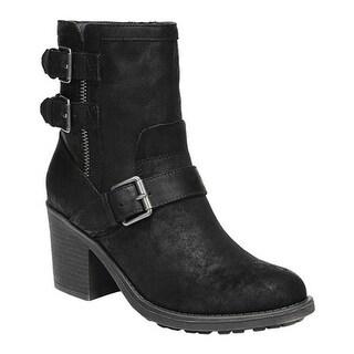 Fergalicious Women's Prayer Ankle Boot Black Oiled Fabric