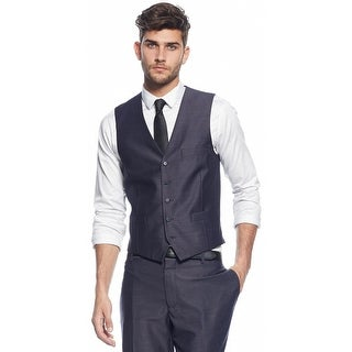 INC International Concepts Vest Navy Blue Heather Small S Button Front