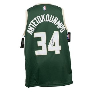 Giannis Greek Freak Antetokounmpo Signed Bucks Green Nike Swingman Jersey JSA