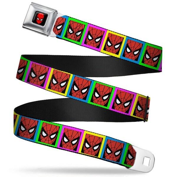 Marvel Comics Spider Man Full Color Spider Man Face Multi Color Blocks Seatbelt Belt