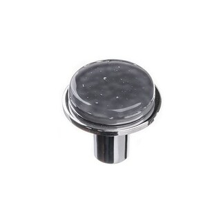 Sietto R-1301 Geometric 1-1/4 Inch Diameter Mushroom Cabinet Knob with Slate Gray Glass