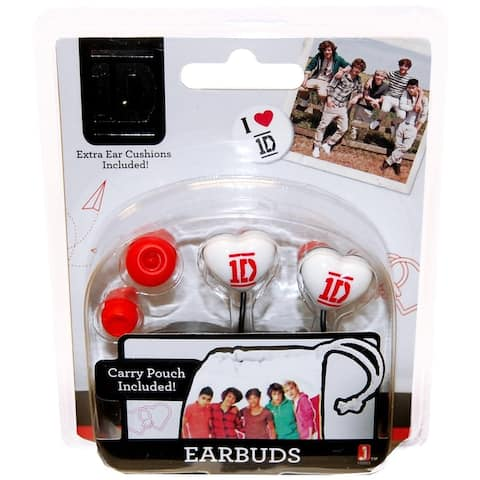 One Direction Heart Shaped Earbuds With Carry Pouch - Multi