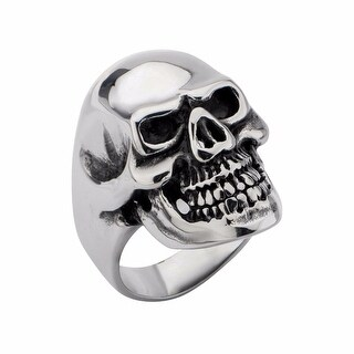 Inox Stainless Steel Black Oxidized Skull All Teeth Out Ring. Available Sizes: 9 - 13