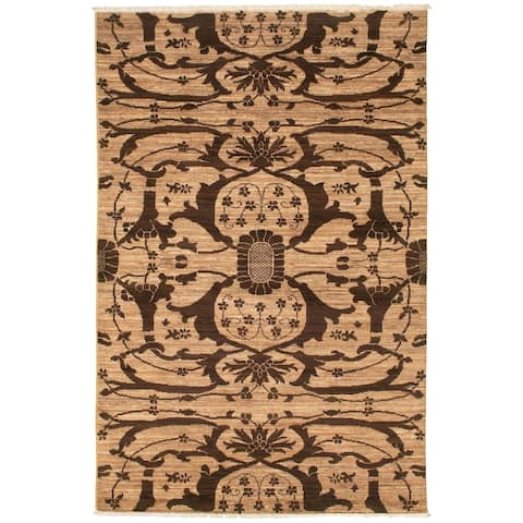 Hand-knotted Pak Transitional Brown, Tan Wool Rug