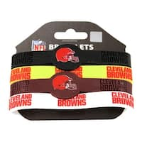 Cleveland Browns NFL Silicone Rubber Wrist Band Bracelet Set of 4