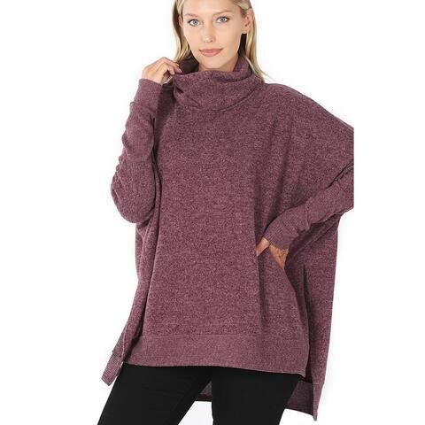 JED Women's Cowl Neck Long Sleeve Sweater Tunic