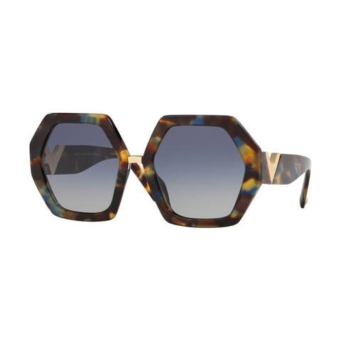 Valentino VA4053 50644L 57 Havana Blue Woman Irregular Sunglasses