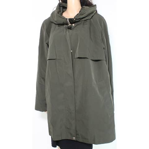 Gallery Women's Coat Olive Green Size 1X Plus Full Zip Hooded Solid