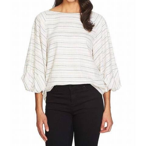1.State White Beige Womens Size XS Shimmer Stripe Blouson Blouse