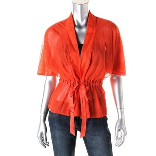 Nanette Lepore Womens Mesh Short Sleeves Cardigan Top - 2