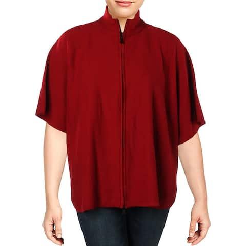 Anne Klein Womens Cape Sweater Wool Zipper