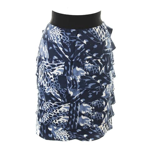 Alfani Blue Printed Tiered Pencil Skirt 2
