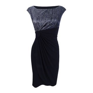 Connected Women's Petite Metallic Faux-Wrap Dress - Black/silver (3 options available)