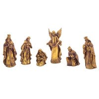 Set of 6 Distressed Gold-Tone Religious Christmas Nativity Scene Figures