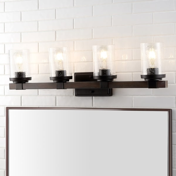 Bungalow Iron/Seeded Glass Rustic Farmhouse LED Vanity Light, Oil Rubbed Bronze by JONATHAN Y. Opens flyout.