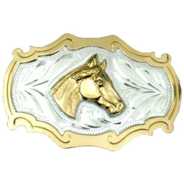 German Silver Tone and Gold Tone-trimmed Belt Buckle with Horsehead Detail - One size